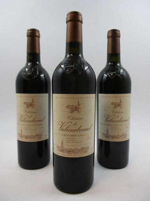 3 bouteilles CHÂTEAU VALANDRAUD 1997 GC Saint Emilion