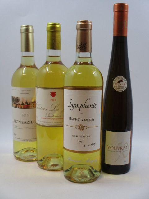 4 bouteilles  1 bt : CHÂTEAU LES JUSTICES 2011 Sauternes 1 bt : SYMPHONIE DE HAUT PERAGUEY 2011 Sauternes 1 bt : MONBAZILLAC 201...