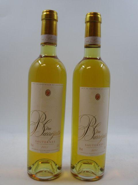 6 bouteilles CRU BARREJATS 2001 Sauternes (50 cl) (cave 1)