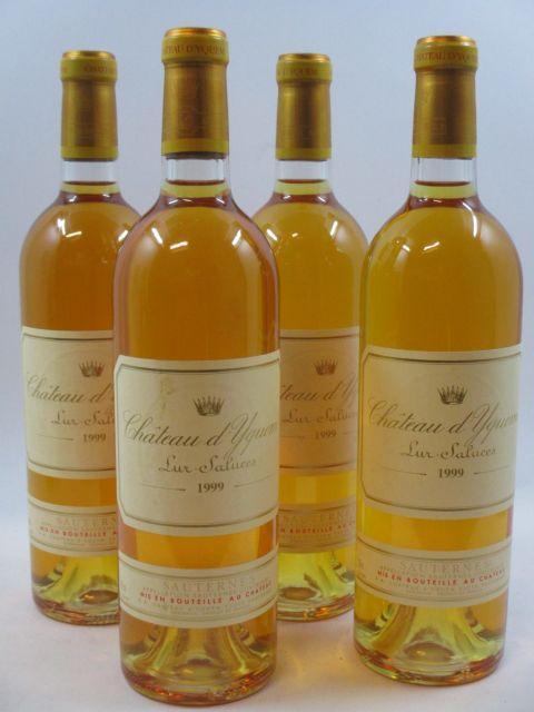 4 bouteilles CHÂTEAU D'YQUEM 1999 1er cru Supérieur Sauternes (1 étiquette tachée)