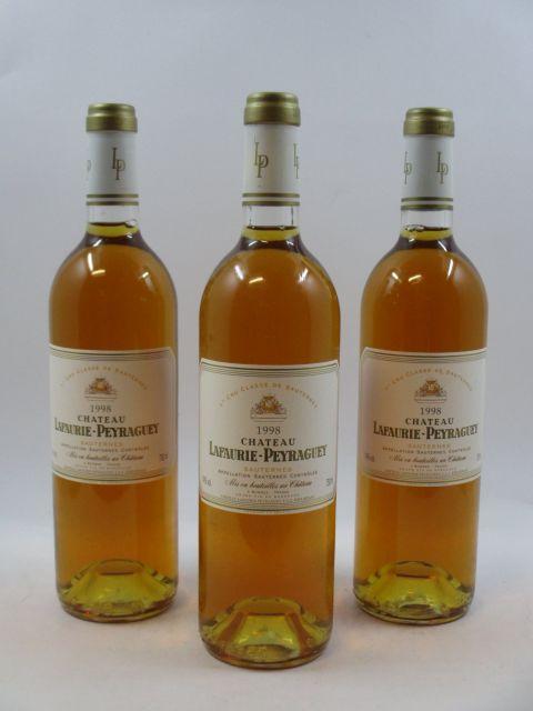 6 bouteilles CHÂTEAU LAFAURIE PEYRAGUEY 1998 1er cru Sauternes (cave 12)