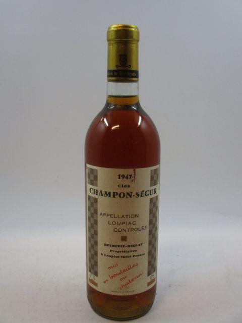 1 bouteille LOUPIAC 1947 Clos Champon Ségur - Desmerie-Reglat (étiquette légèrement abimée)