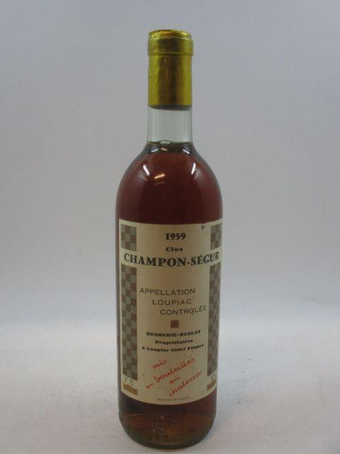 1 bouteille  LOUPIAC 1959 Clos Champon Ségur -  Desmerie-Reglat (Base goulot capsule légèrement abimé sur le dessus étiquette léger...