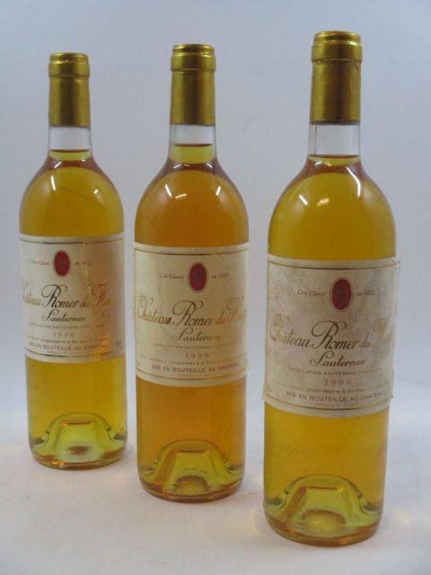 6 bouteilles CHÂTEAU ROMER DU HAYOT 1990 2è cru Sauternes (étiquettes très abimées décollées et déchirées)