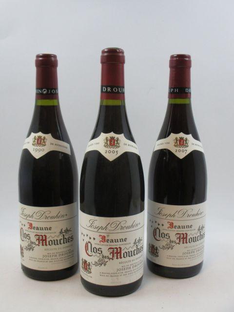 3 bouteilles 1 bt : BEAUNE 1990 1er cru Clos des Mouches. Joseph Drouhin