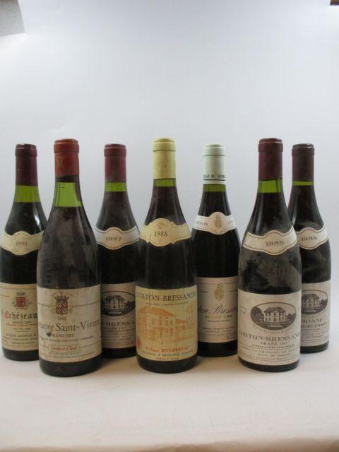12 bouteilles 1 bt : CORTON BRESSANDES 1988 Grand Cru. Philippe Bouzereau (étiquette abimée)