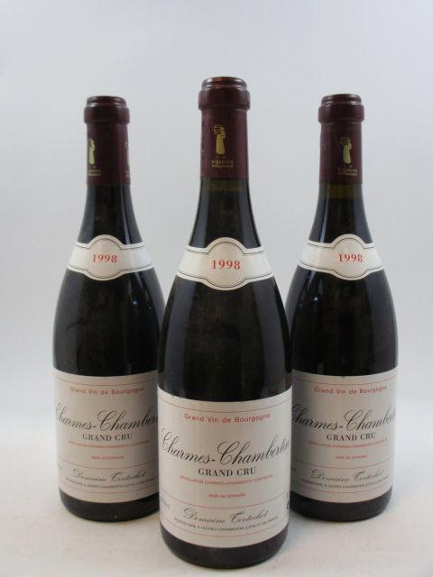 3 bouteilles CHARMES CHAMBERTIN 1998 Grand Cru