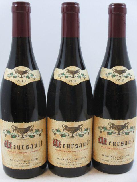 3 bouteilles MEURSAULT ROUGE 2010 Coche Dury (rouge) (cave 10)