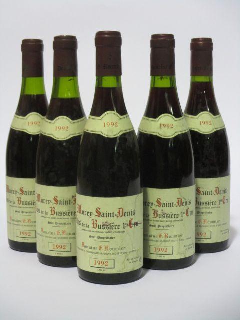 5 bouteilles MOREY SAINT DENIS 1992 1er cru Clos de la Bussière