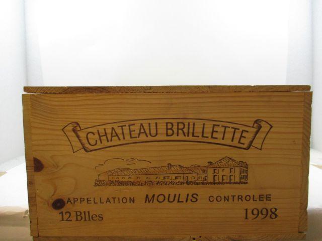12 bouteilles CHÂTEAU BRILLETTE 1998 Moulis Caisse bois d'origine (cave 12)