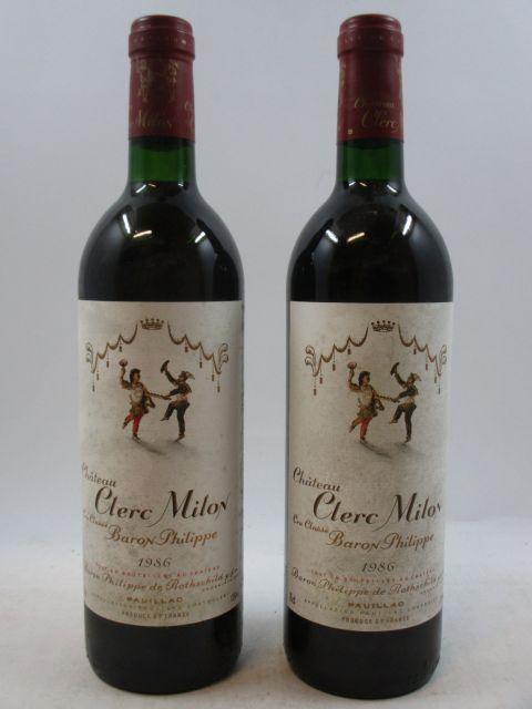 12 bouteilles CHÂTEAU CLERC MILON 1986 5è GC Pauillac (base goulot, étiquettes très tachées)  (cave 3)