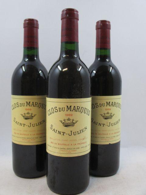 12 bouteilles  CLOS DU MARQUIS 1989 Saint Julien (étiquettes légèrement abimées)  (cave 3)
