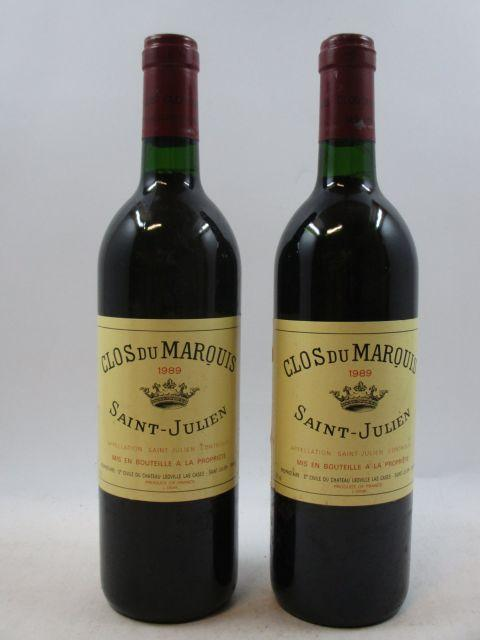 11 bouteilles CLOS DU MARQUIS 1989 Saint Julien (étiquettes abimées, 1 capsule abimée )(cave 3)