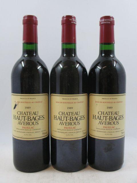 8 bouteilles CHÂTEAU HAUT BAGES AVEROUS 1989 Pauillac (étiquettes légèrement abimées) (cave 3)