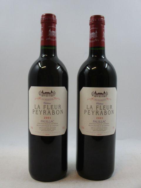 12 bouteilles CHÂTEAU LA FLEUR PEYRABON 2001 Pauillac Caisse bois d'origine (cave 12)