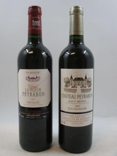 12 bouteilles : 6 bts : CHÂTEAU LA FLEUR PEYRABON 2007 Pauillac Caisse bois d'origine  6 bts : CHATEAU PEYRABON 2007 Haut Medoc Ca...