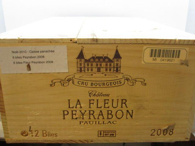 12 bouteilles: 6 bts: CHÂTEAU LA FLEUR PEYRABON 2008 Pauillac Caisse bois d'origine 6 bts : CHATEAU PEYRABON 2008 Haut Medoc Cais...