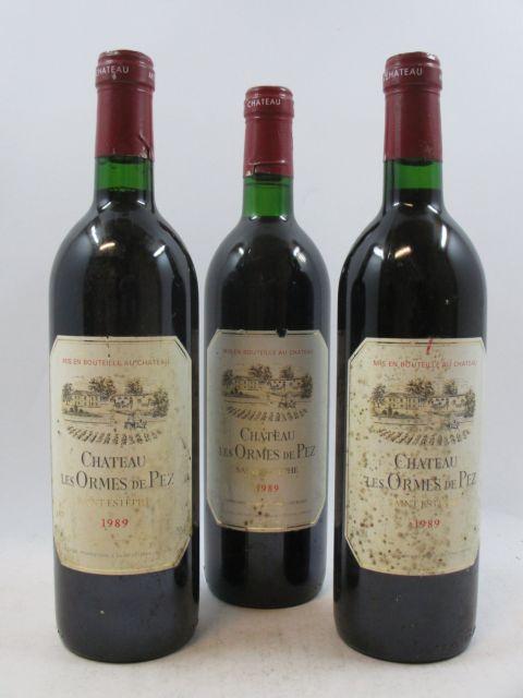 9 bouteilles CHÂTEAU LES ORMES DE PEZ 1989 Saint Estèphe (base goulot, étiquettes très abimées)  (cave 3)