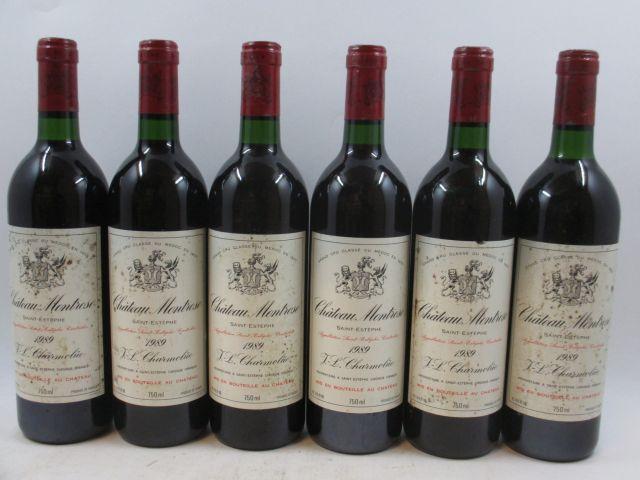 6 bouteilles CHÂTEAU MONTROSE 1989 2è GC Saint Estèphe (étiquettes abimées et tachées, 2 base goulot) (cave 3)