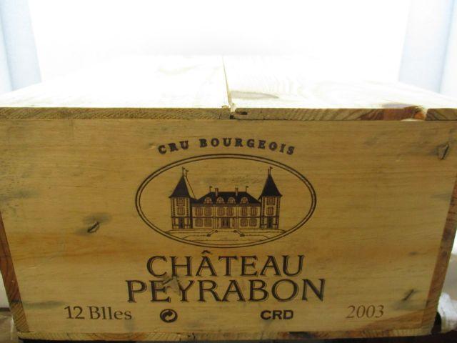 12 bouteilles CHÂTEAU PEYRABON 2003 Haut Médoc Caisse bois d'origine (cave 12)