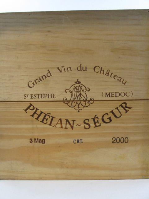 3 magnums CHÂTEAU PHELAN SEGUR 2000 Saint Estèphe Caisse bois d'origine (cave 12)