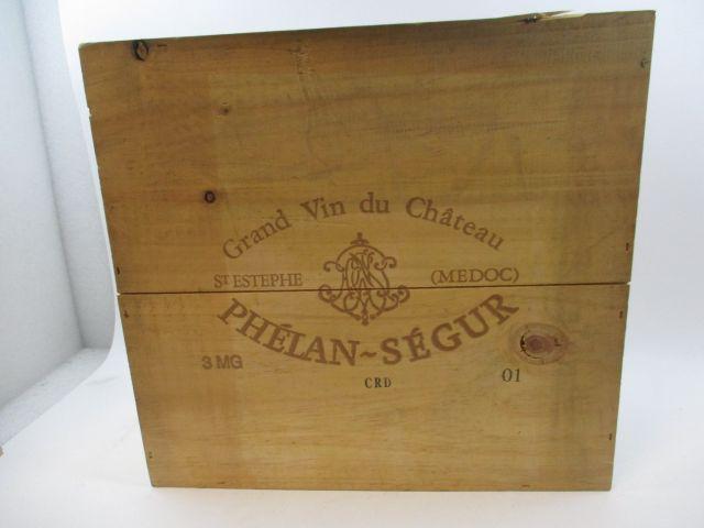 3 magnums CHÂTEAU PHELAN SEGUR 2001 Saint Estèphe Caisse bois d'origine (cave 12)