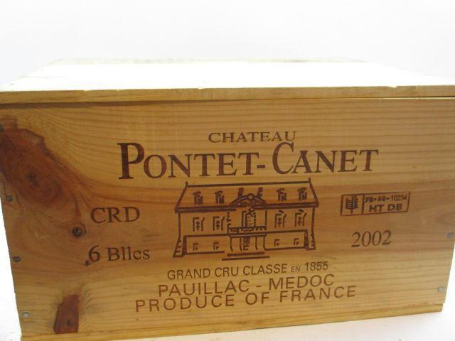6 bouteilles CHÂTEAU PONTET CANET 2002 5è GC Pauillac Caisse bois d'origine (cave 12)