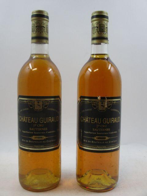 6 bouteilles CHÂTEAU GUIRAUD 1989 1er cru Sauternes (étiquettes légèrement abimées) (cave 3)