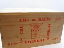 6 bouteilles CHÂTEAU RAYNE VIGNEAU 2003 1er cru Sauternes Caisse bois d'origine (cave 12)