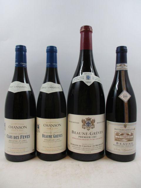 5 flacons 1 mag : BEAUNE 1995 1er cru Grèves. Domaine du Château de Meursault Caisse bois d'origine