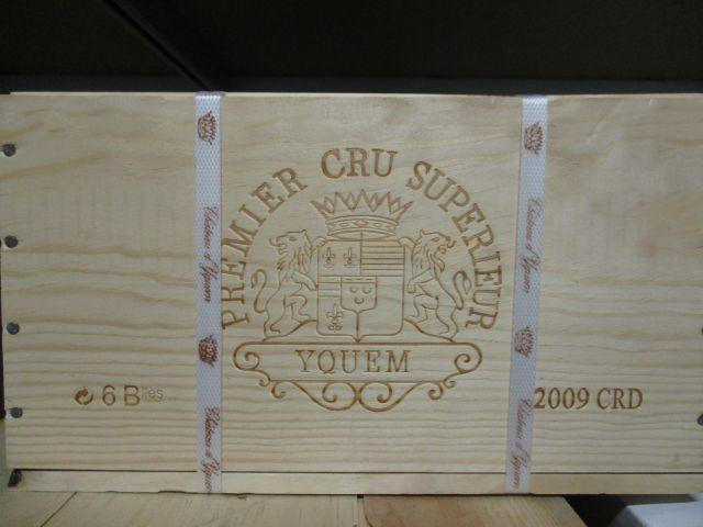 6 bouteilles CHÂTEAU D'YQUEM 2009 1er cru Supérieur Sauternes Caisse bois d'origine cerclée