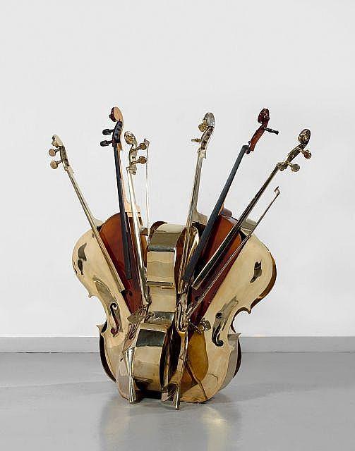 MEGA  1988 Bronze à patine dorée et violoncelle en bois découpé ~ Decoupe De Bois