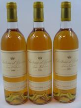 3 bouteilles CHÂTEAU D'YQUEM 1986 1er cru Supérieur Sauternes (base goulot)