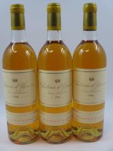 3 bouteilles CHÂTEAU D'YQUEM 1986 1er cru Supérieur Sauternes (légèrement bas, 2 bouchons légèrement enfoncés, capsules léger abimée..