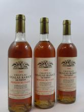 6 bouteilles CHÂTEAU SIGALAS RABAUD 1986 1er cru Sauternes (4 légèrement bas, 2 haute épaule, étiquettes fanées, traces de coulure s...