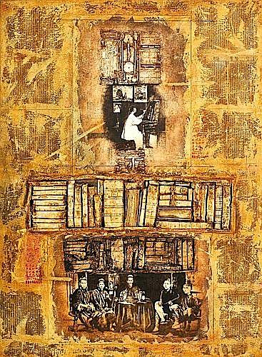 Alain KLEINMANN (né en 1953) PORTRAIT DE FAMILLE Huile et technique mixte sur toile