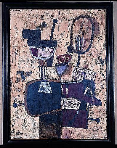 Jacques DOUCET (1924 - 1994) TAUROMACHIE OU TOREADOR, 1953 Oil on tarpaulin