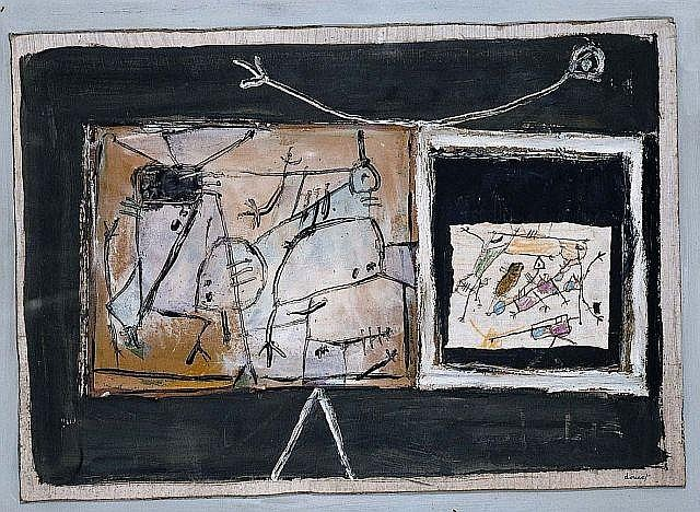 Jacques DOUCET (1924 - 1994) TEMPS DE RE-CREATION, 1948 Gouache-collage on cardboard mounted on cloth-lined board