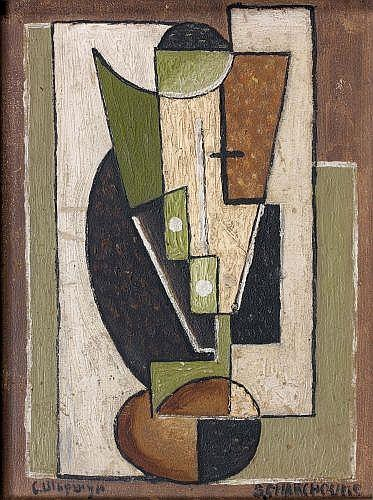 Serge CHARCHOUNE (1888-1975) COMPOSITION-CUBISME ORNEMENTAL N°26B, 1922 Oil on hardboard