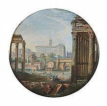 École française de la fin du XVIIIe siècle  Vue du forum romain prise à l'angle du portique du temple d'Antonin et Faustine Gouache..