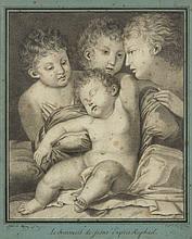 Alfred de VIGNY 1797 - 1863 Le Sommeil de l'enfant Jésus, d'après Raphaël Crayon noir, estompe