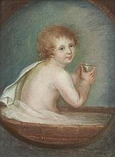 Marie-Jeanne-Amélie de VIGNY 1757-1837 Portrait d'Alfred de Vigny enfant au bain Pastel