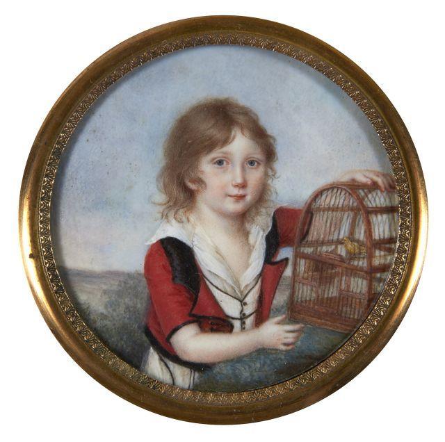 Ecole française vers 1805 Portrait d''Alfred de Vigny enfant avec un cage à oiseau Miniature de forme ronde