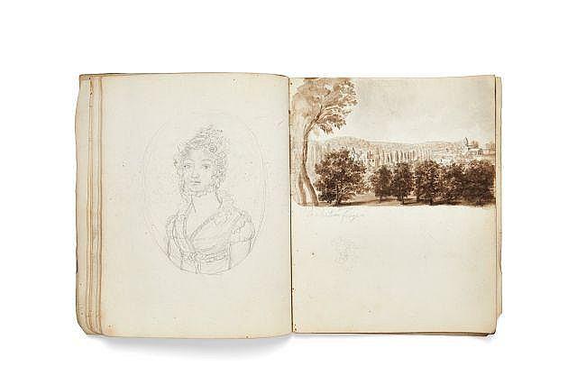Marie-Jeanne-Amélie de VIGNY et Alfred de VIGNY 1757-1837 & 1797-1863 Cahier de cours de dessins