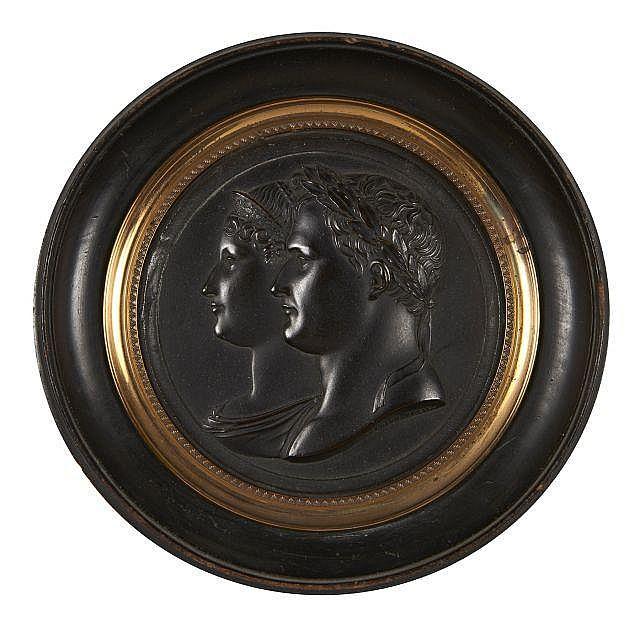 Jean-Bertrand ANDRIEU 1761 - 1822 Profils de Napoléon et de Marie-Louise Médaille en bronze à patine brune