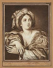 Alfred de VIGNY 1797 - 1863 Une Sibylle, d'après Le Dominiquin Plume et encre brune, lavis brun et rehauts de gouache blanche