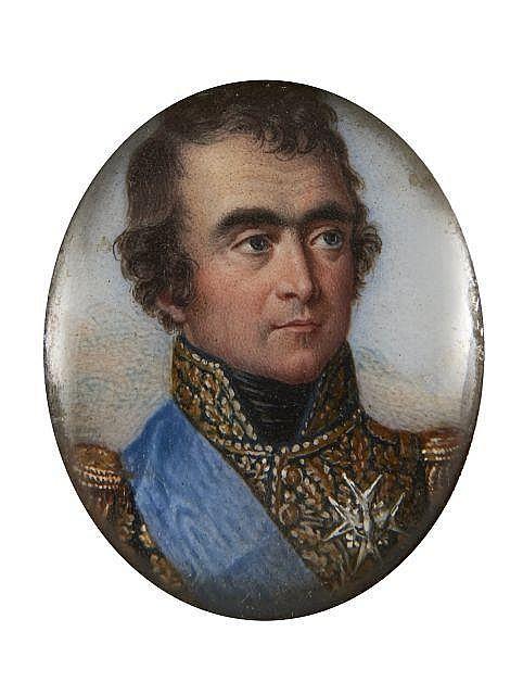Ecole française du XIXe siècle Portrait en buste du maréchal Marmont, duc de Raguse, portant la croix de l'ordre du Saint Esprit Mi..