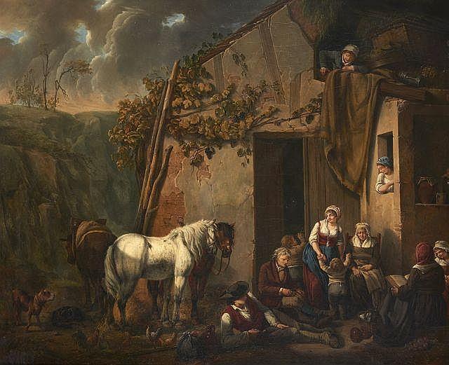 Marc-Antoine BILCOQ 1755 - 1838 L'heureuse famille Huile sur toile (Toile d'origine)