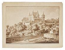 Attribué à Amélie de Vigny 1757 - 1837 Personnages au pied d'un château dans un paysage et Paysage de montagnes