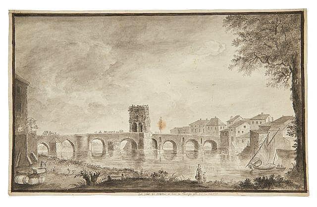 Attribué à Marie-Jeanne-Amélie de VIGNY 1757-1837 Vue du pont de Saintes Lavis gris sur trait de crayon
